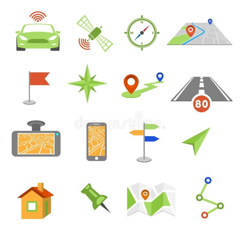 GPS nawigaci ikony ilustracji