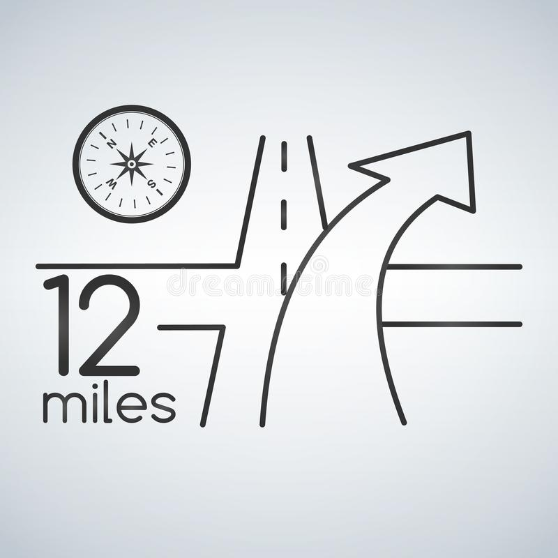 GPS nawigaci usługa z cyrklowym pojęciem 3D drogowa mapa z strzała gps usługują dla podróży i rewizi lokaci illustratio royalty ilustracja