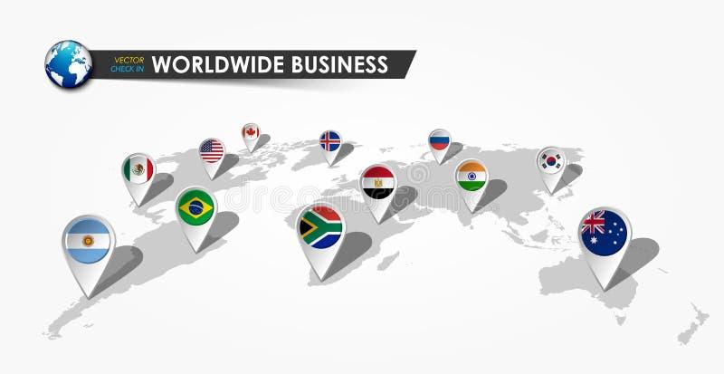 GPS nawigatora lokaci szpilka z perspektywiczną światową mapą na szarym gradientowym tle Na całym świecie biznesu i technologii p royalty ilustracja