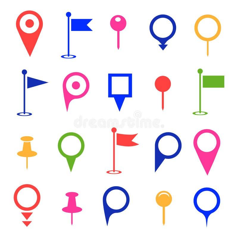 GPS och navigering färgade symboler på vit bakgrund vektor stock illustrationer