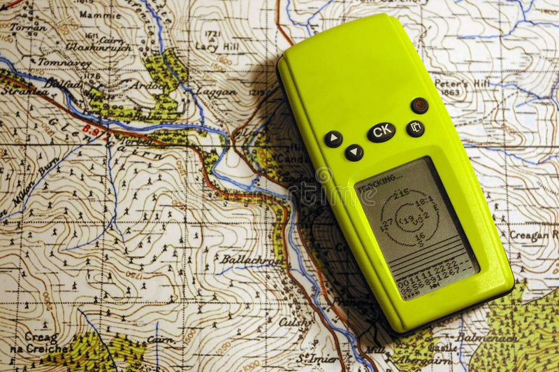 GPS on old map royalty free stock photos
