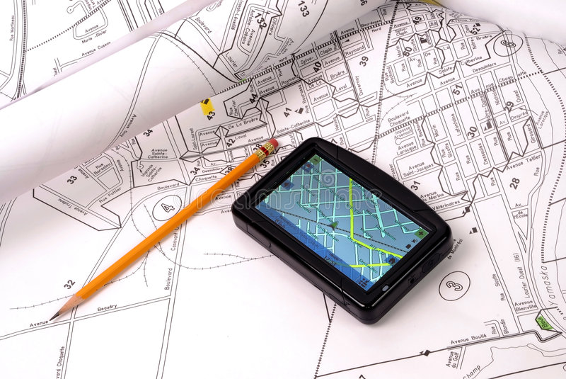 GPS op kaart royalty-vrije stock afbeeldingen