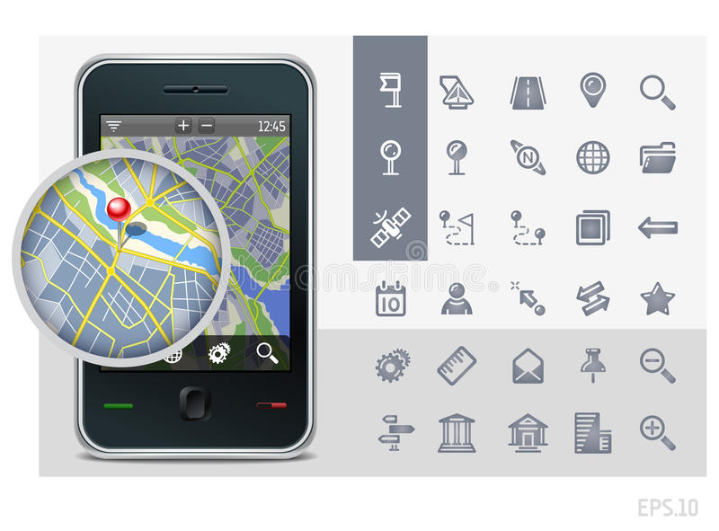Gps phone interface icons. Gps phone interface vector icons set and map with pin royalty free illustration
