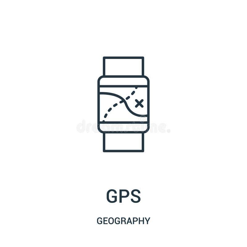 gps pictogramvector van aardrijkskundeinzameling De dunne lijngps vectorillustratie van het overzichtspictogram stock illustratie