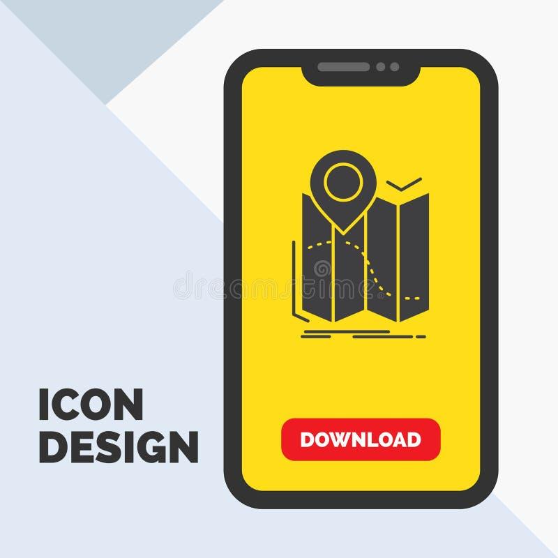 gps, plaats, kaart, navigatie, het Pictogram van routeglyph in Mobiel voor Downloadpagina Gele achtergrond stock illustratie