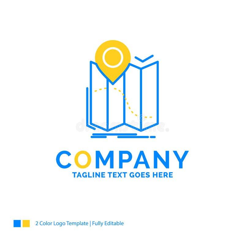 gps, plaats, kaart, navigatie, leidt Blauw Geel Bedrijfsembleem vector illustratie
