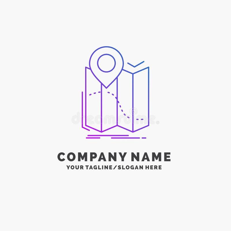 gps, plaats, kaart, navigatie, leidt Purpere Zaken Logo Template Plaats voor Tagline vector illustratie