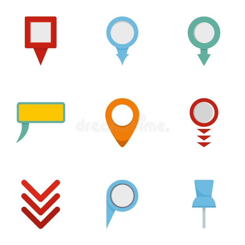 GPS pointer icons set, flat style vector illustration