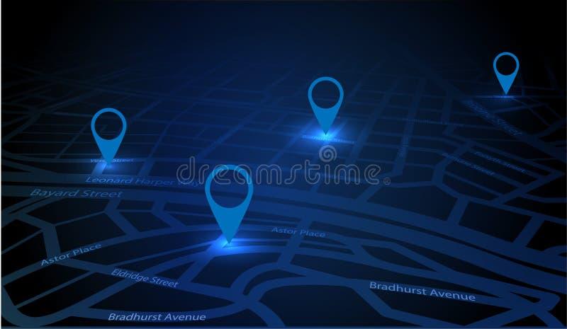 GPS que sigue el mapa stock de ilustración