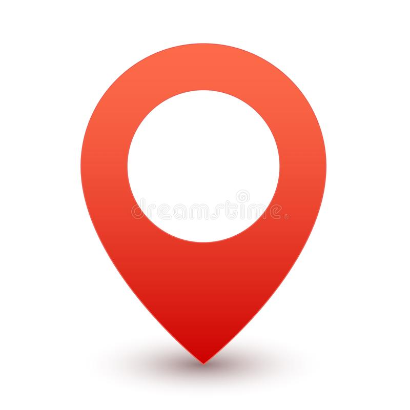 Gps red pin. Map marker or travel symbol vector icon on white background. With shadow stock illustration