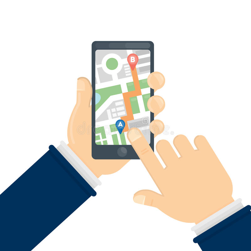 GPS roadmap on smartphone. Hands holding phone with directions vector illustration