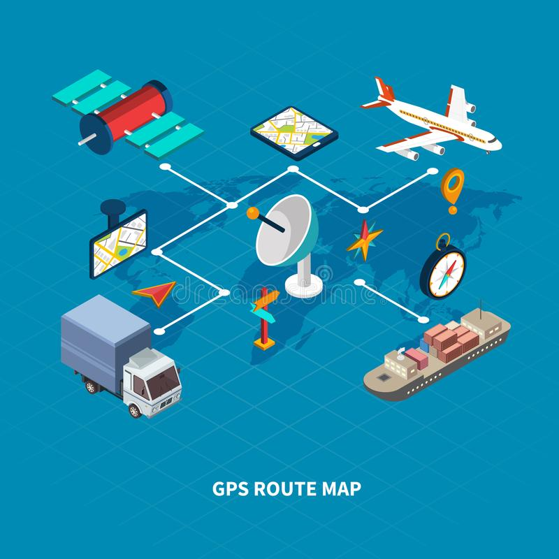 GPS Route Map Flowchart. With navigation symbols on blue background isometric vector illustration vector illustration