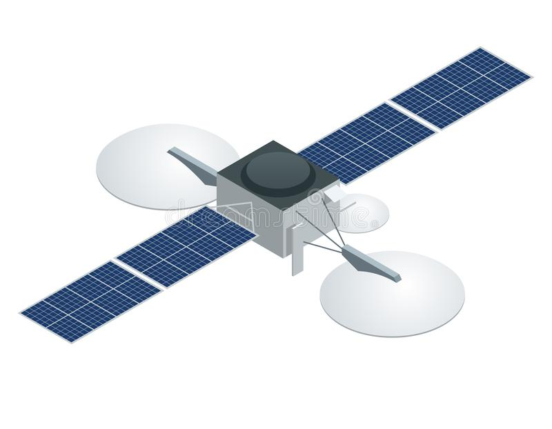 GPS satelita Płaska wektorowa isometric ilustracja Bezprzewodowa satelitarna technologia ilustracji