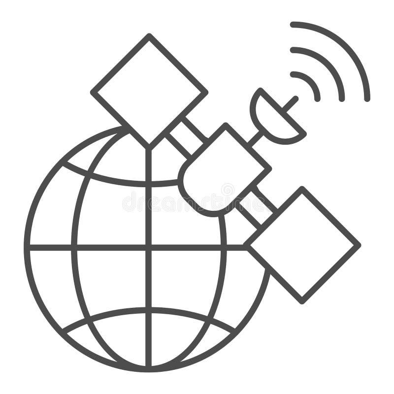 Gps satelliet dun lijnpictogram Globale signaal vectordieillustratie op wit wordt ge?soleerd Van de communicatie het ontwerp over royalty-vrije illustratie