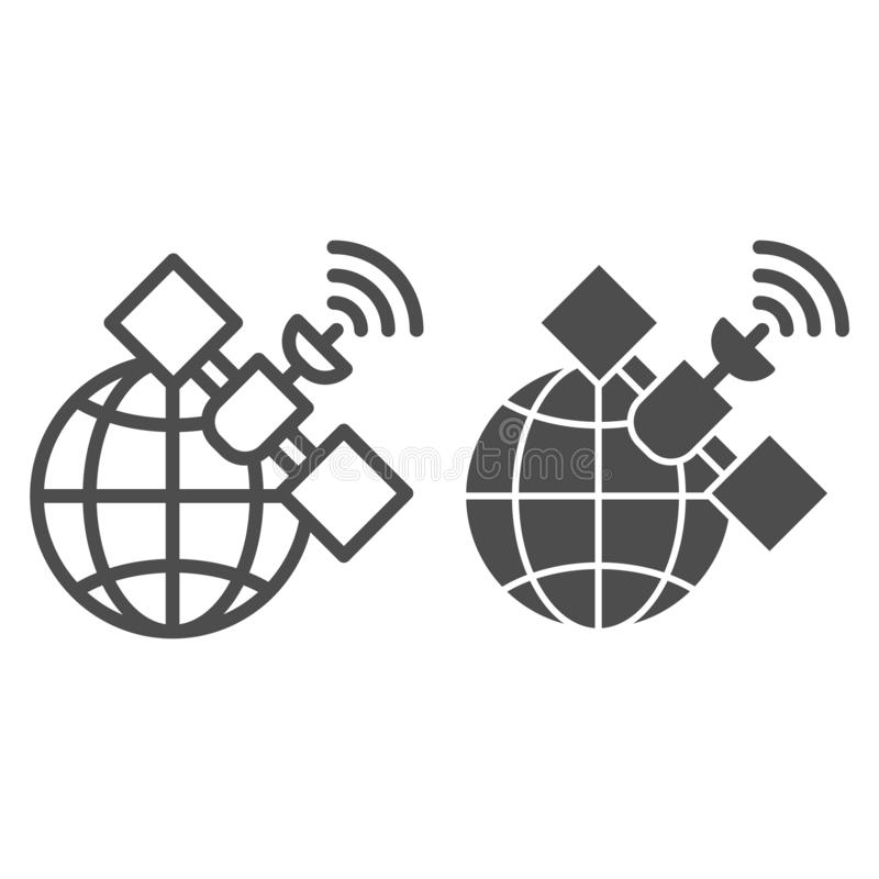 Gps satellietlijn en glyph pictogram Globale signaal vectordieillustratie op wit wordt ge?soleerd Communicatie overzichtsstijl stock illustratie