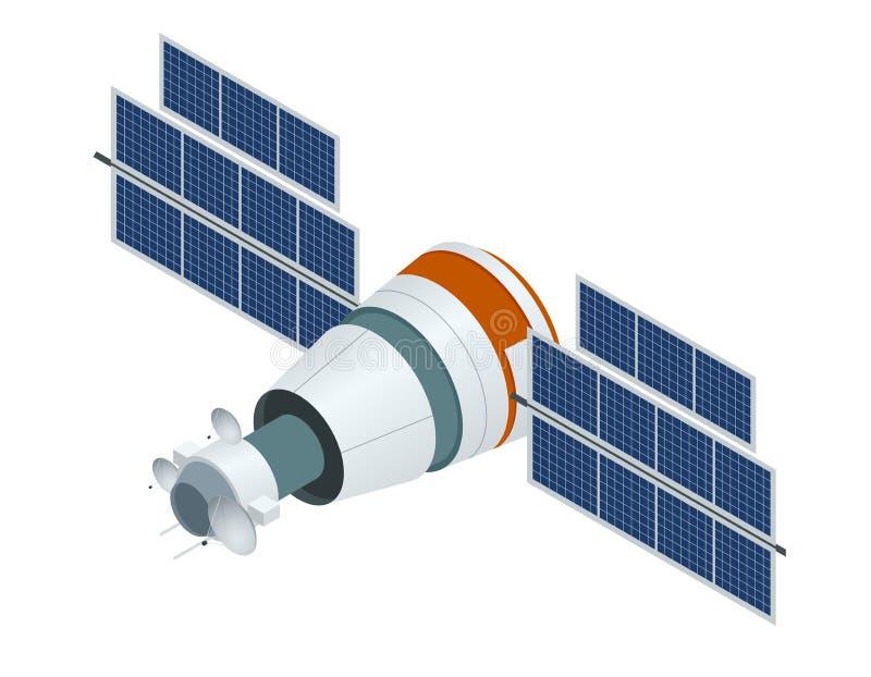 GPS satellit Isometrisk illustration för plan vektor Trådlös satellit- teknologi stock illustrationer