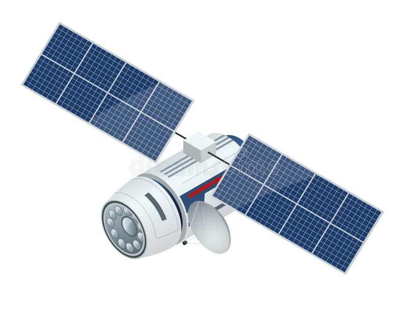 GPS satellite. Flat vector isometric illustration. Wireless satellite technology. stock illustration