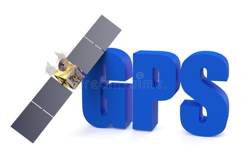 GPS satellite. Isolated on white background stock illustration