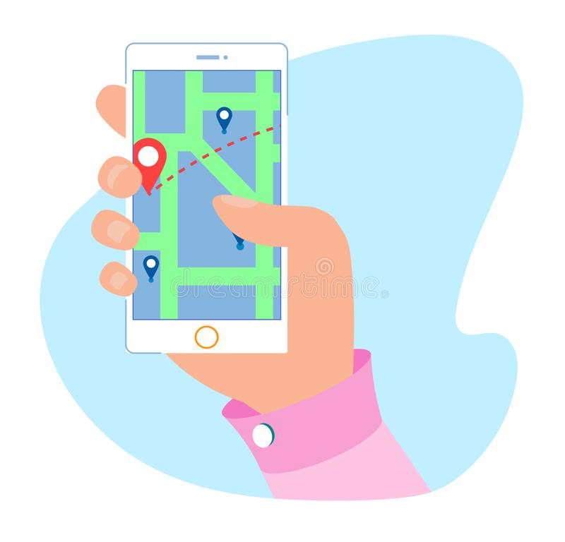 GPS Service and Navigation Mobile Map Application. Flat Cartoon Male Hand Holding Phone with Open Navigator System. Modern User Interface with Rout and Pins vector illustration
