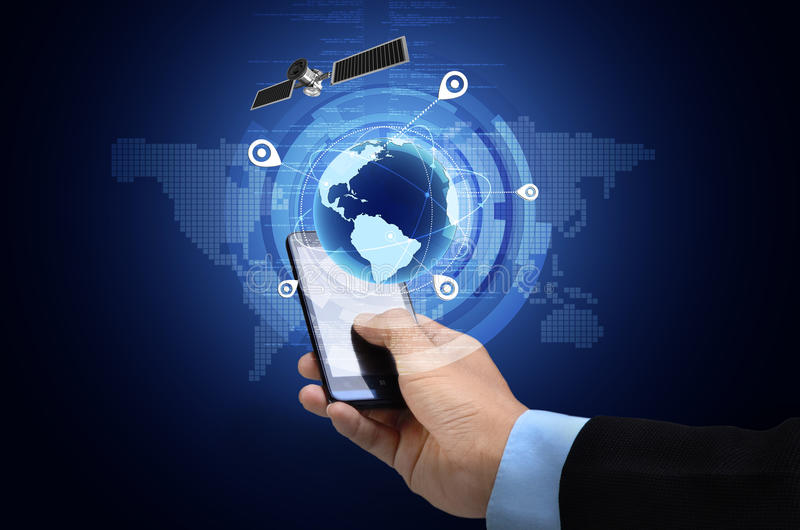GPS on smart phone. Conceptual image of Global Positioning System GPS on smart phone