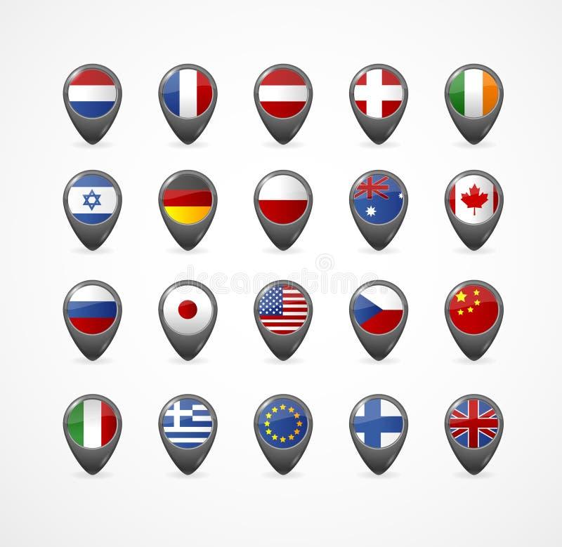 Gps Speld met vlag voor kaart, vectorillustratie royalty-vrije illustratie