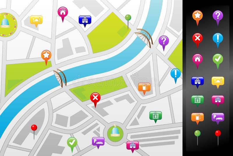 Gps-Straßenkarte lizenzfreie abbildung