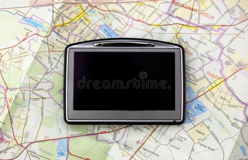 GPS sur la carte photographie stock libre de droits