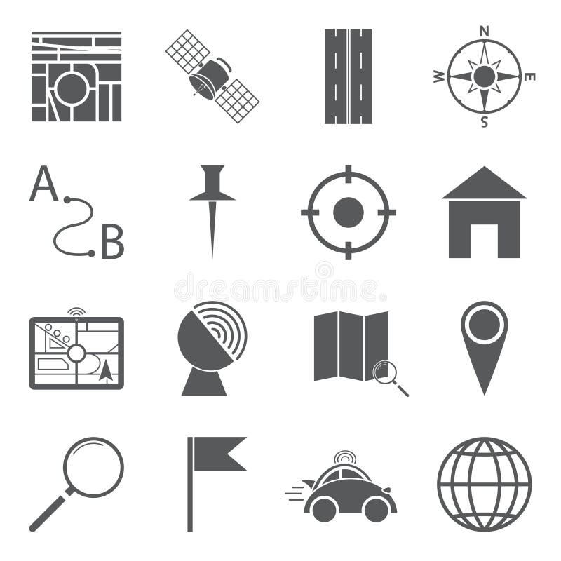 Gps-symboler royaltyfri illustrationer