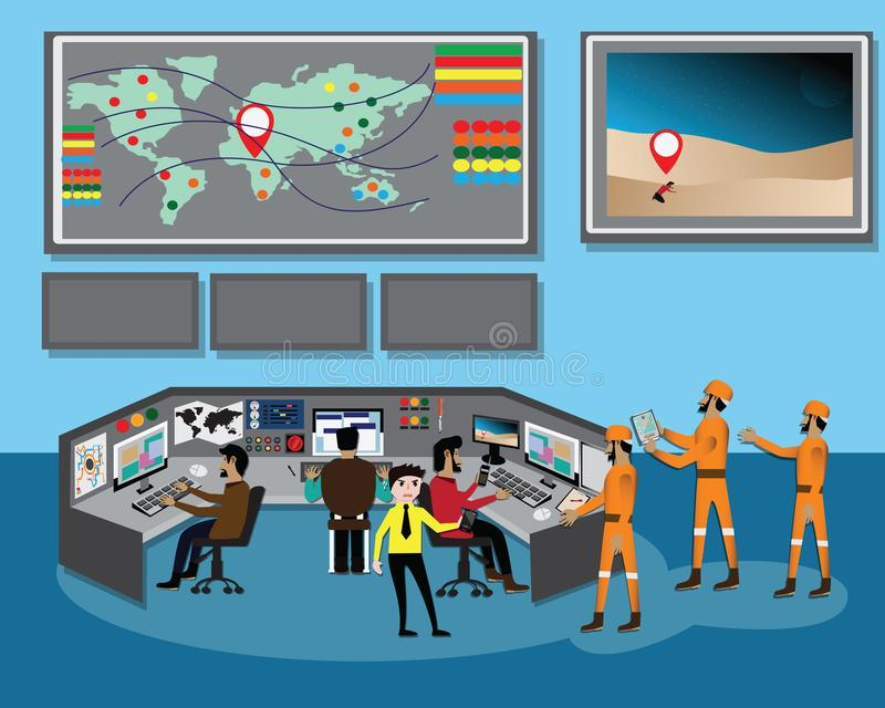 GPS technology concept, People used GPS navigator to find lost man in desert - vector vector illustration