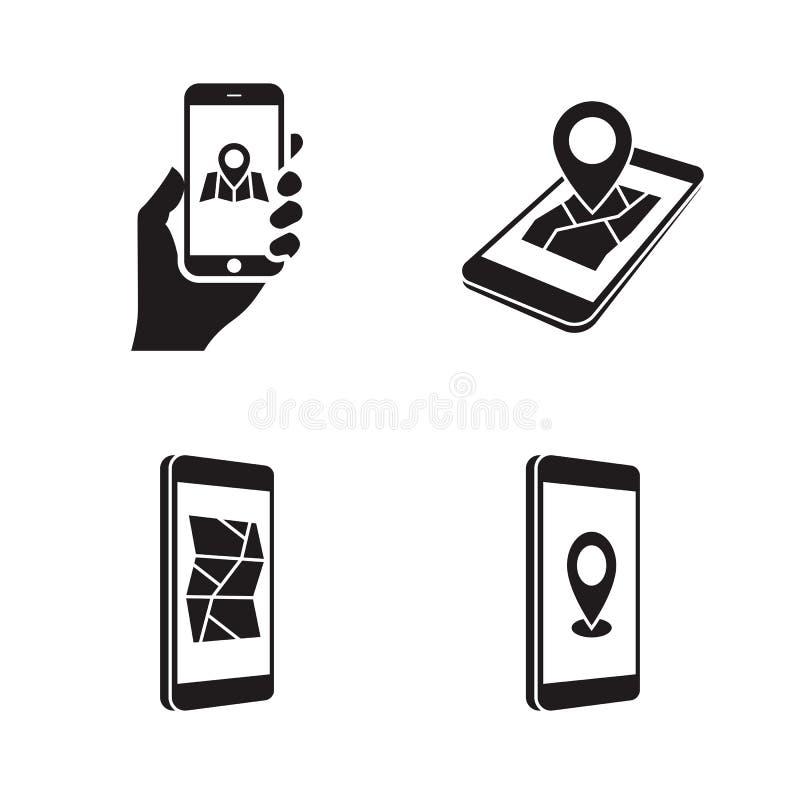 GPS telefonsymboler royaltyfri illustrationer