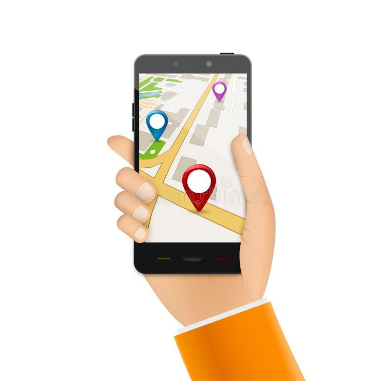 GPS-telefoonnavigatie - mobiel gps en het volgen concept Hand die een mobiele telefoon met stadskaart houden stock illustratie