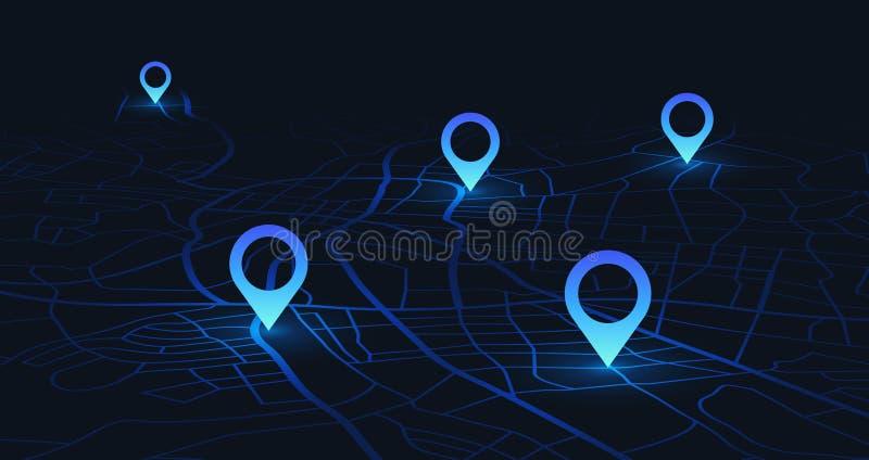 GPS tropi mapę Szlakowe nawigacji szpilki na ulicznych mapach, żeglują i lokalizują pozycja wałkowego wektor kartografujący techn ilustracji