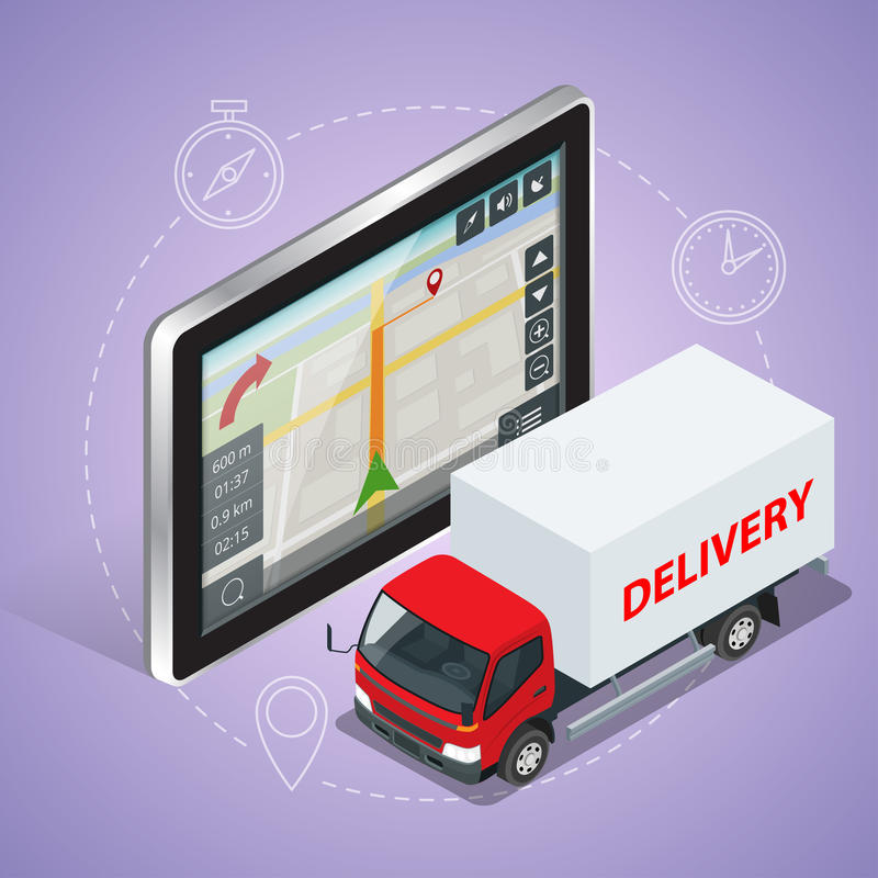 GPS truck. Geolocation gps navigation touch screen tablet and Fast delivery service. Fast shipping, express delivery, free delivery, fast delivery icon. Flat stock illustration