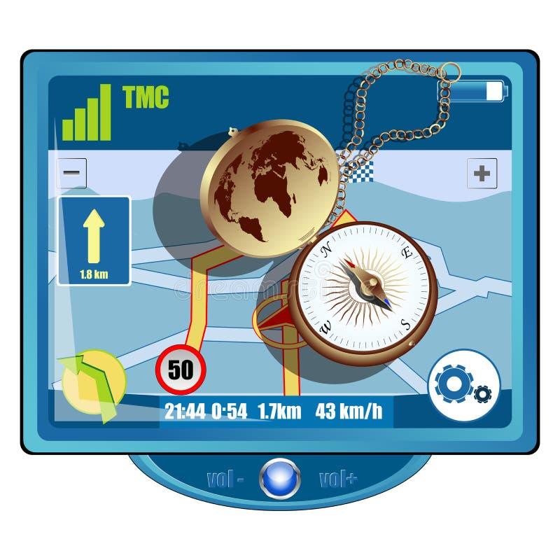 GPS y compás ilustración del vector
