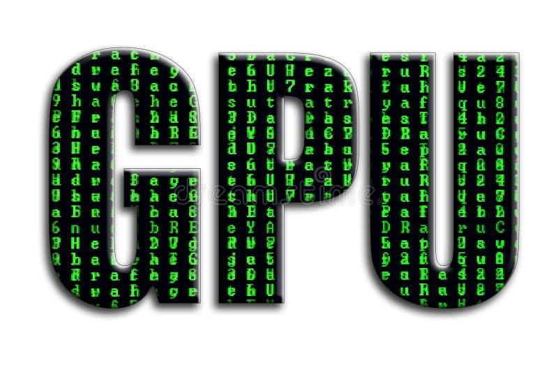 Gpu 题字有摄影的纹理,描述绿色小故障标志 免版税库存图片