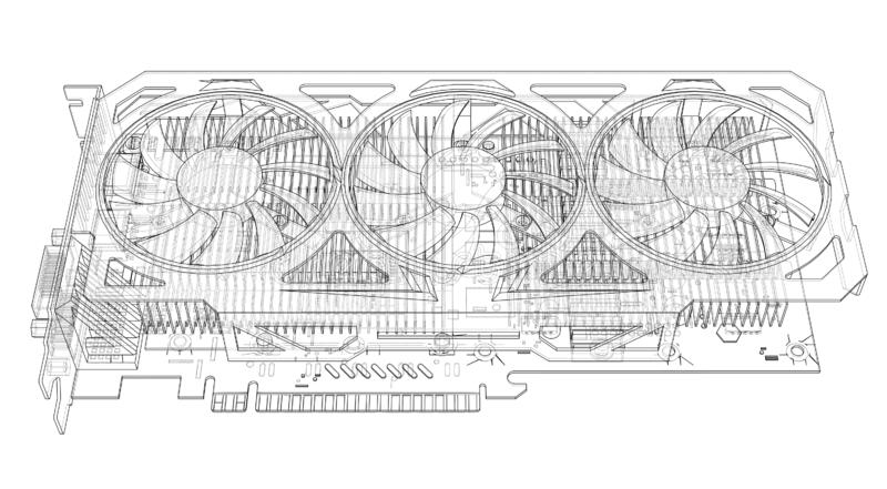 Gpu Card Outline. Vector. Rendering of 3d. Technology concept. Graphics card royalty free stock photo