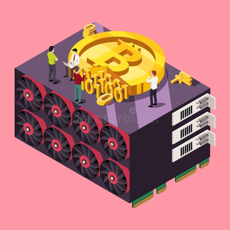 GPU, das Bitcoin-Konzept gewinnt Isometrische Vektor-Illustration lizenzfreie abbildung
