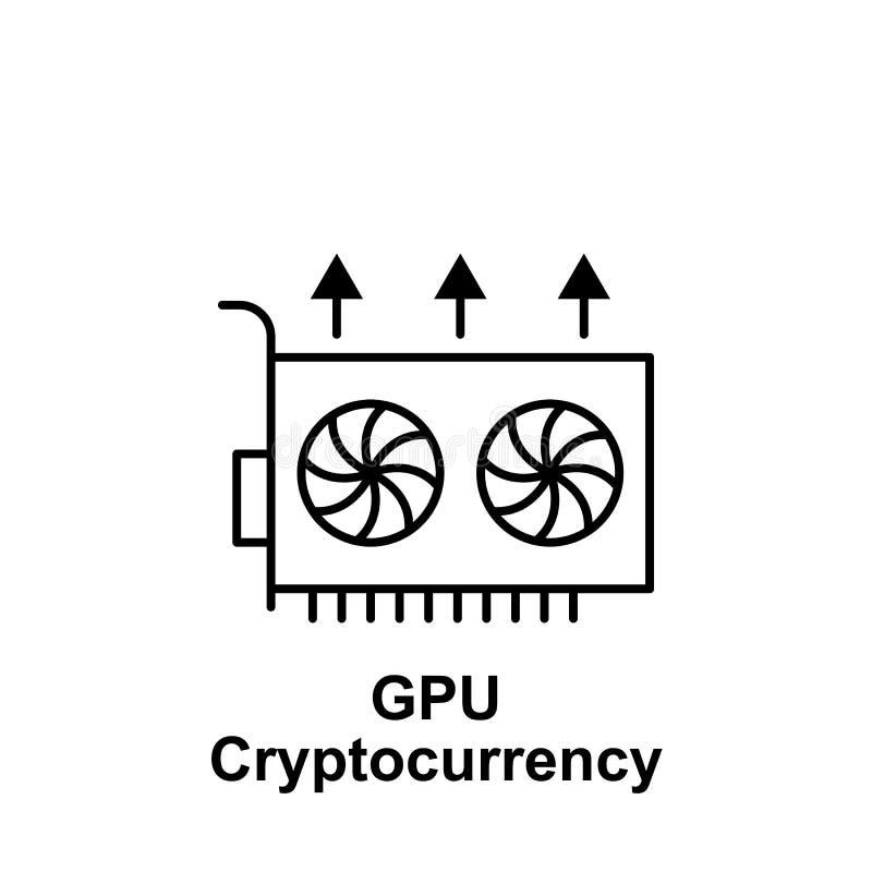 Gpu de Bitcoin encima del icono del esquema Elemento de los iconos del ejemplo del bitcoin Las muestras y los símbolos se pueden  stock de ilustración