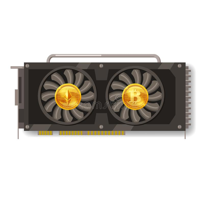 GPU videocard for mining isolated icon. Blockchain technology and digital money, bitcoin, ethereum, cryptocurrency royalty free illustration
