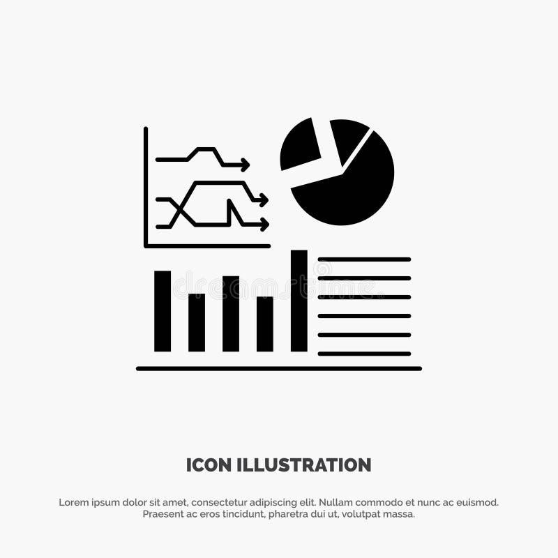 Gráfico, éxito, organigrama, vector sólido del icono del Glyph del negocio stock de ilustración