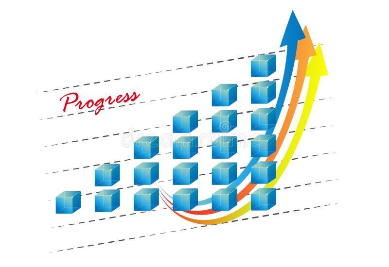 gráfico 3d com setas ilustração do vetor