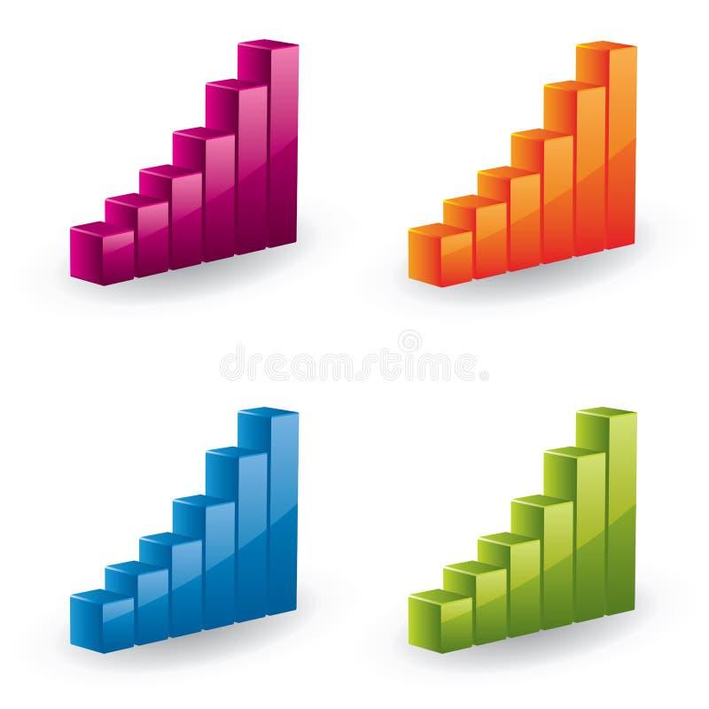 gráfico 3d fijado - iconos brillantes ilustración del vector