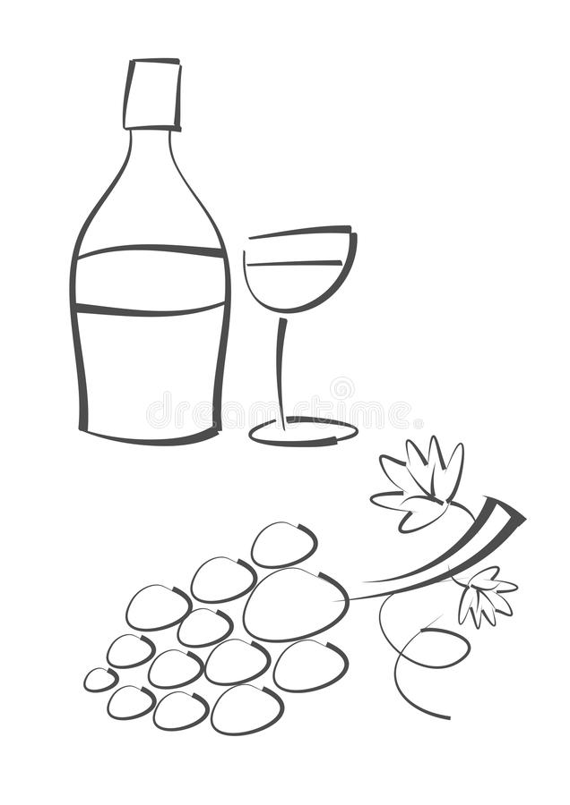 Gráfico abstracto: Botella de vino, vidrio de vino y grap libre illustration