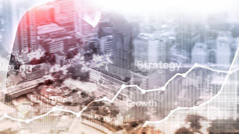 Gráfico abstracto, carta y diagrama de la exposición doble del fondo del negocio Mapa mundial y Negocio global y comercio financi fotos de archivo libres de regalías