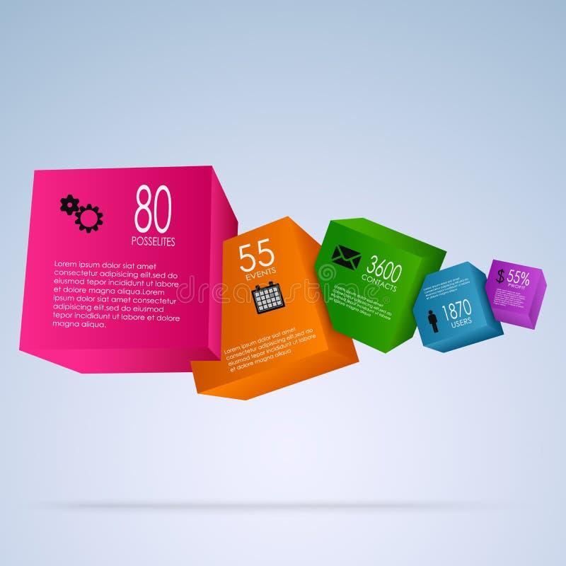 Gráfico abstracto de la información con los cubos coloridos ilustración del vector