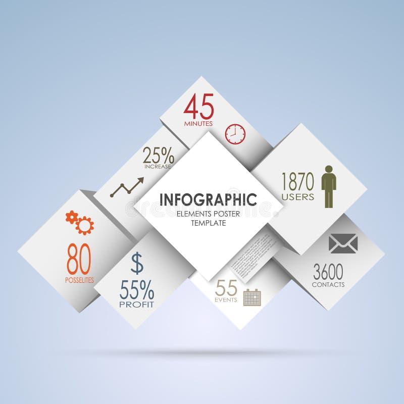 Gráfico abstracto de la información de los cuadrados y de los cubos del blanco stock de ilustración