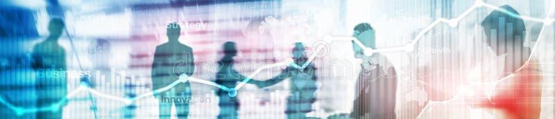Gráfico abstrato, carta e diagrama da exposição dobro do fundo do negócio Mapa mundial e Negócio e financeiro globais foto de stock