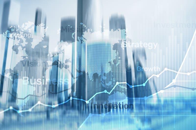 Gráfico abstrato, carta e diagrama da exposição dobro do fundo do negócio Mapa mundial e Negócio e financeiro globais fotos de stock royalty free