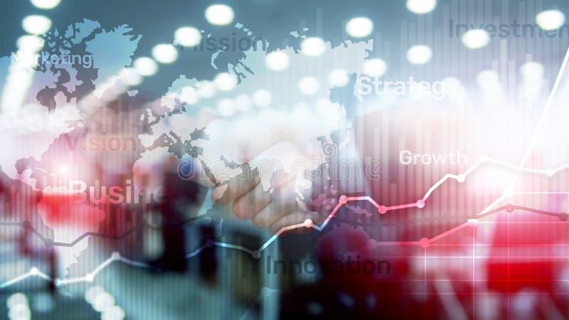 Gráfico abstrato, carta e diagrama da exposição dobro do fundo do negócio Mapa mundial e Negócio e financeiro globais foto de stock royalty free