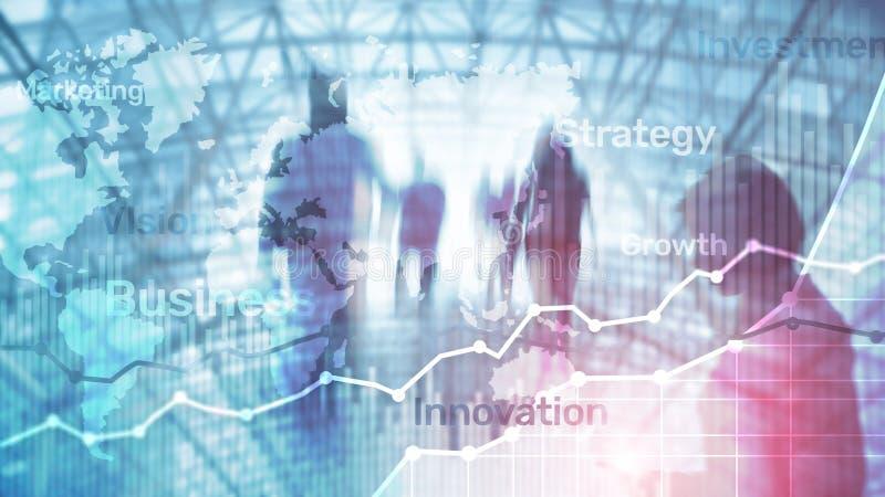 Gráfico abstrato, carta e diagrama da exposição dobro do fundo do negócio Mapa mundial e Negócio e financeiro globais fotos de stock